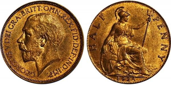 George V, Bronze Halfpenny, 1925