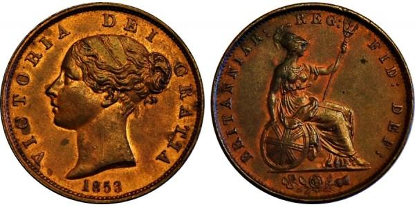 Victoria, Copper Halfpenny, 1853/2.