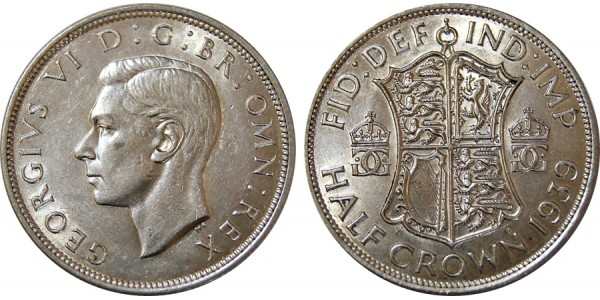 George VI, Silver Half-crown, 1939.