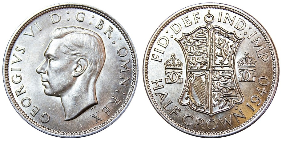 George VI, Silver Half-crown, 1940.