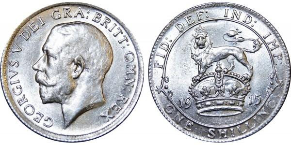 George V, Silver Shilling, 1915.