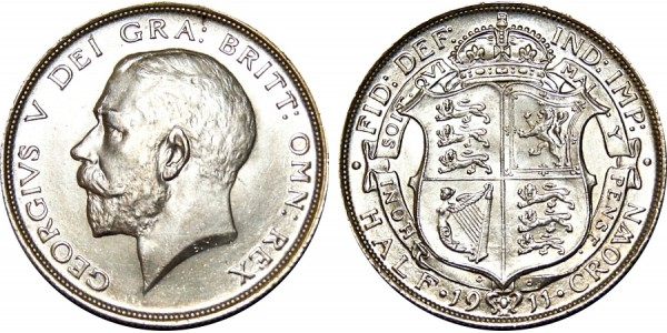 George V, Silver Half-crown, 1911.