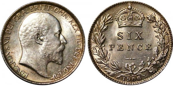 Edward VII, Silver Sixpence, 1906