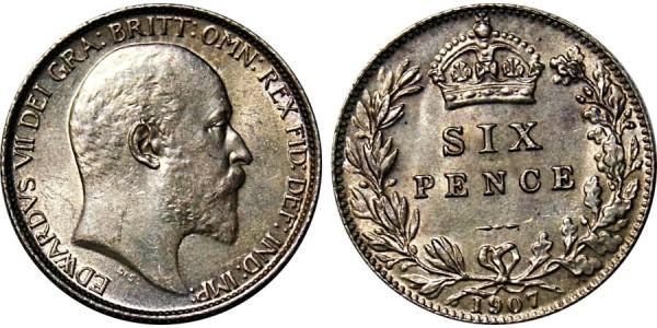 Edward VII, Silver Sixpence, 1907.