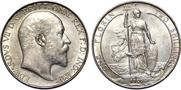 Edward VII, Silver Florin, 1905