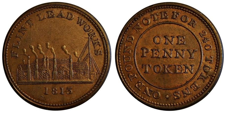 Flint. Penny Token. 1813. W 1311