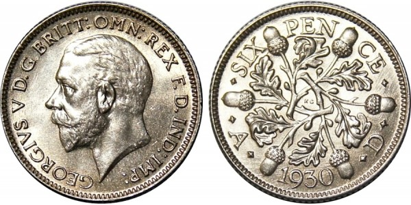 George V, Silver Sixpence, 1930