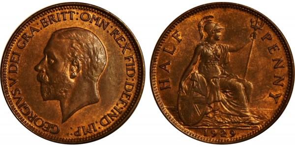 George V, Bronze Halfpenny, 1929.