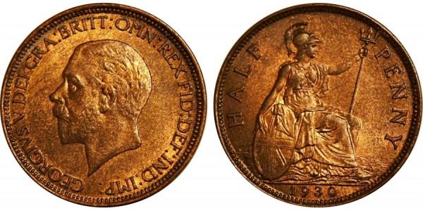 George V, Bronze Halfpenny, 1930