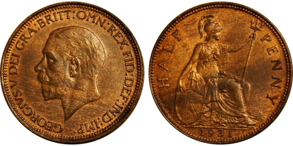 George V, Bronze Halfpenny, 1931