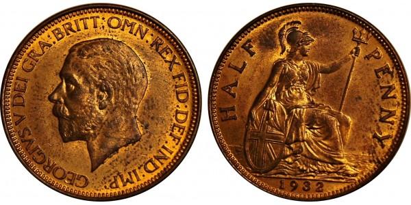 George V, Bronze Halfpenny, 1932