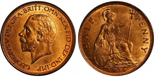 George V, Bronze Halfpenny, 1936