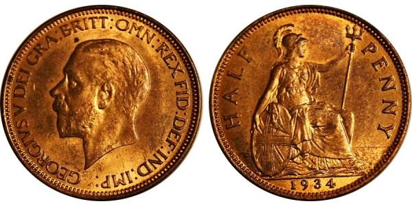 George V, Bronze Halfpenny, 1934