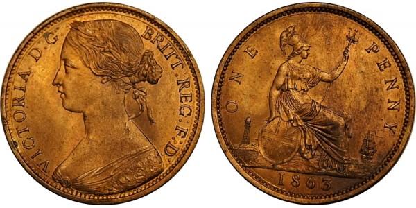 Victoria, Bronze Penny, 1863.