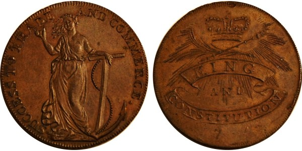 Essex. Chelmsford Halfpenny. 1794. DH 6.