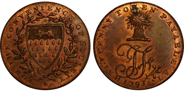 Sussex. Northiam Halfpenny. 1794. DH 34