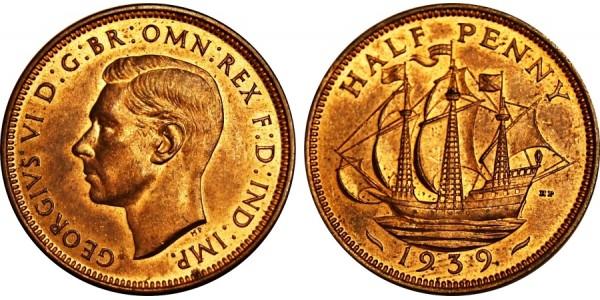 George V, Bronze Halfpenny, 1939.