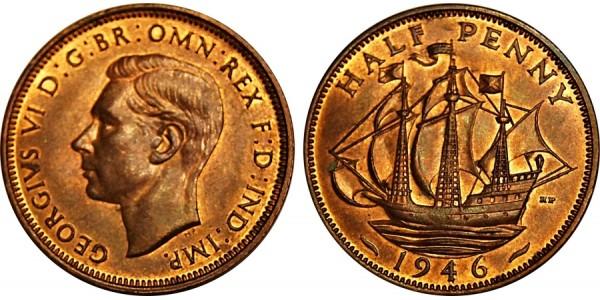 George VI, Bronze Halfpenny, 1946