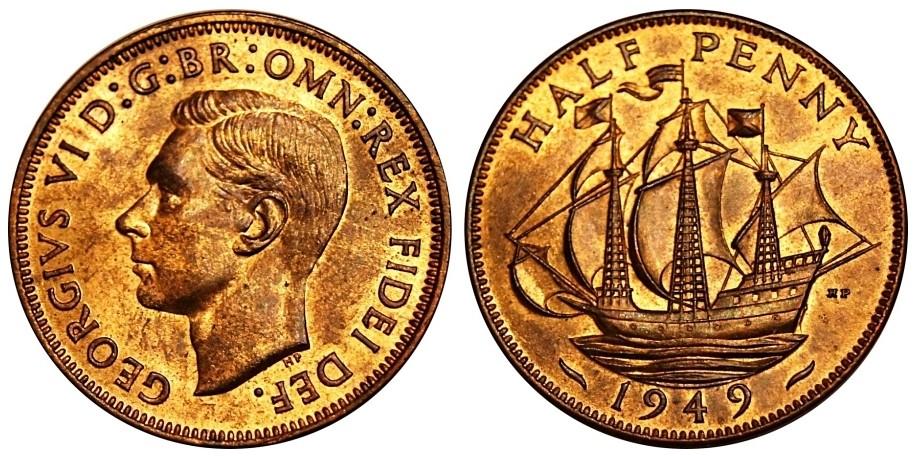 George VI, Bronze Halfpenny, 1949