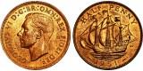 George VI, Bronze Halfpenny, 1951