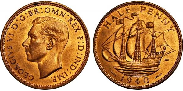 George VI, Bronze Halfpenny, 1940