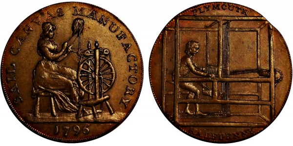 Devonshire. Plymouth Halfpenny.  1796. DH 6.