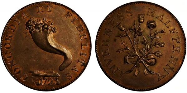 Scotland. Inverness-shire Halfpenny. 1793.  DH1a