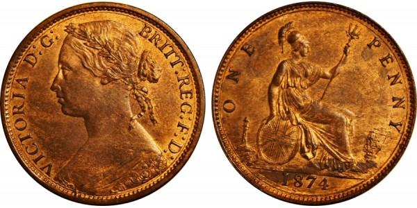 Victoria, Bronze Penny, 1874.