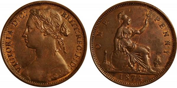 Victoria, Bronze Penny, 1874 H.