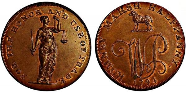Kent. Dimchurch Halfpenny. 1794. DH 15.