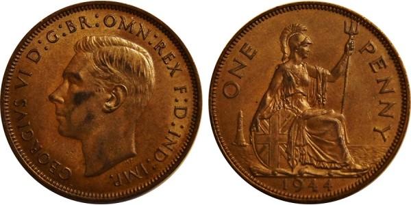George VI, Bronze Penny, 1944