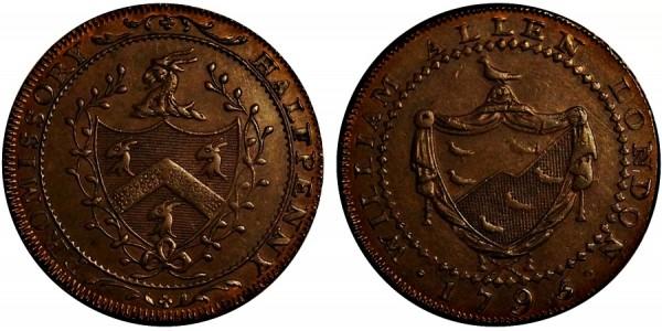 Middlesex. W Allen's Halfpenny. 1795. DH 246