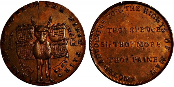 Middlesex. T Spence's Mule Halfpenny. DH 716.