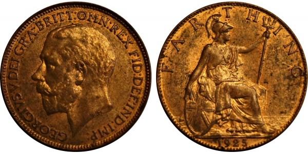 George V. Bronze Farthing 1925.