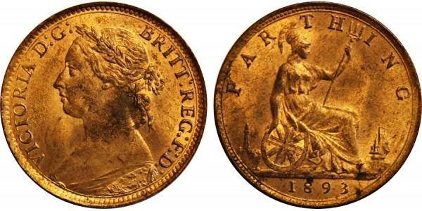 Victoria, Bronze Farthing, 1893.