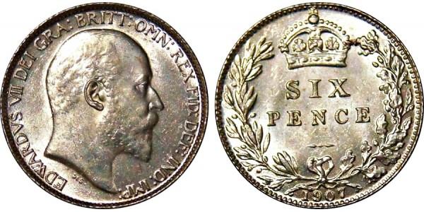 Edward VII, Silver Sixpence. 1910