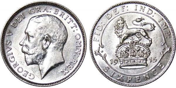 George V, Silver Sixpence. 1912