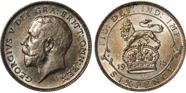 George V, Silver Sixpence. 1913