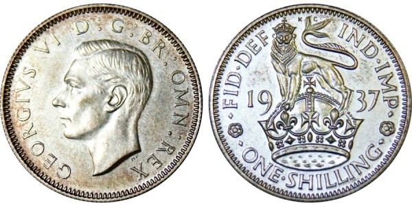 George VI Proof Shilling. 1937.