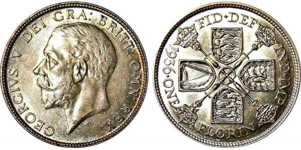 George V. Silver Florin. 1936