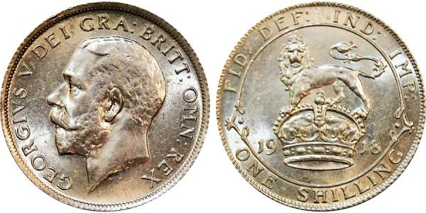 George V, Silver Shilling. 1918.