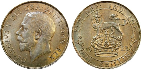 George V, Silver Shilling. 1923.