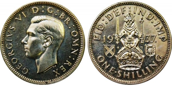 George VI, Scottish Proof Shilling. 1937.