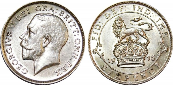 George V, Silver Sixpence. 1916.
