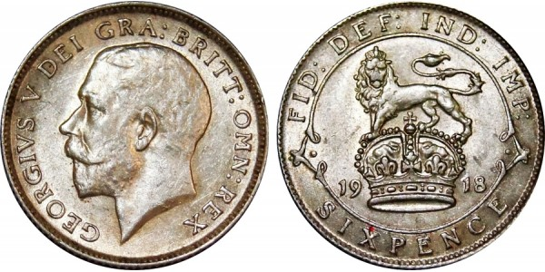 George V, Silver Sixpence. 1918.