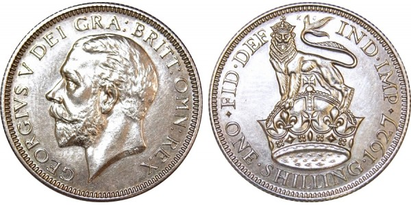 George V, Silver Proof Shilling. 1927.