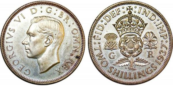 George V. Silver Proof Florin. 1937
