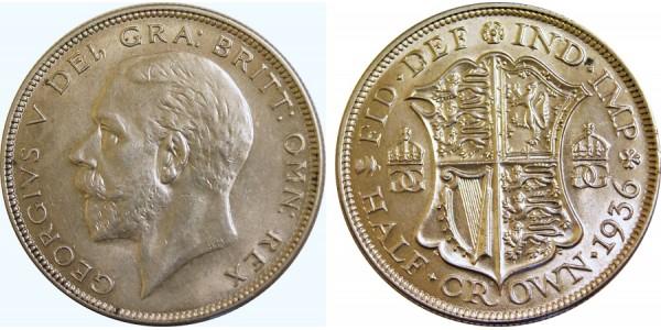 George V, Silver Half-Crown, 1936.