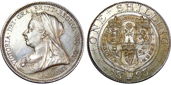 Victoria, Proof Silver Shilling, 1893.