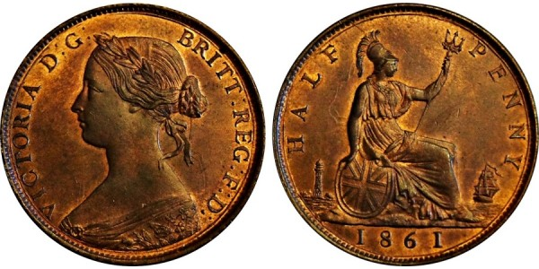 Victoria, Bronze Halfpenny. 1861. F. 270.